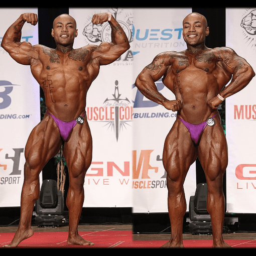 NPC Bodybuilding IFBB Pro Charles Curtis Mar Tan Spray Tan Contest Sheen Posing Oil